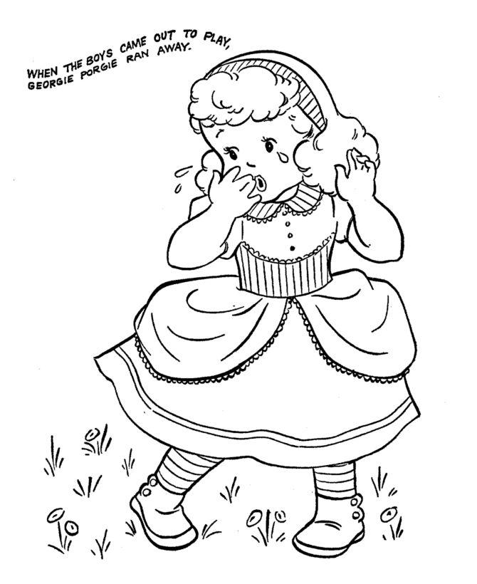 georgie porgie 2 coloring page nursery rhymes