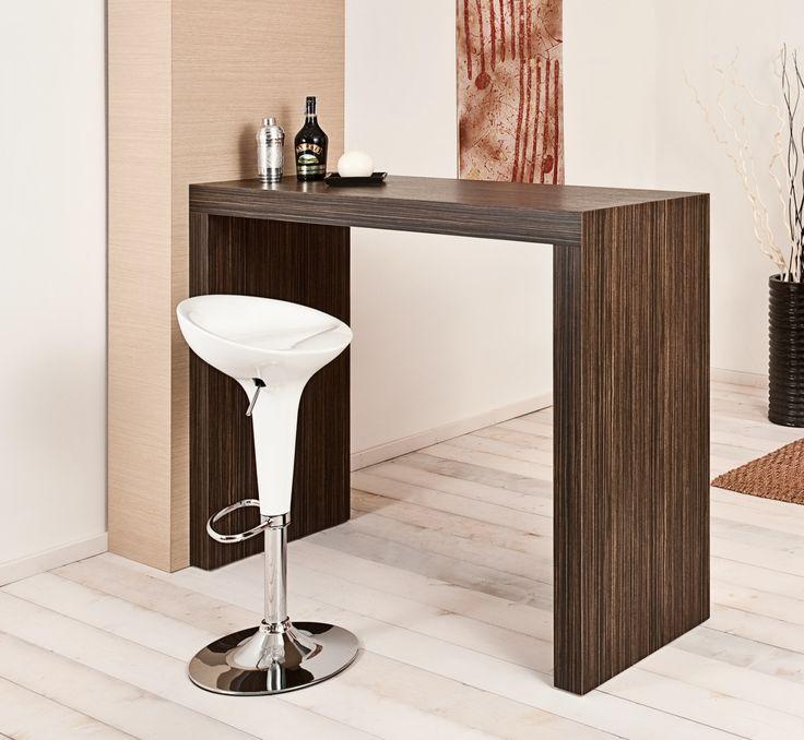 Table 130. Multi-layered laminated wooden high table, has two feet. Tavolo 130. Tavolo alto in legno rivestito in laminato, con due piedi.