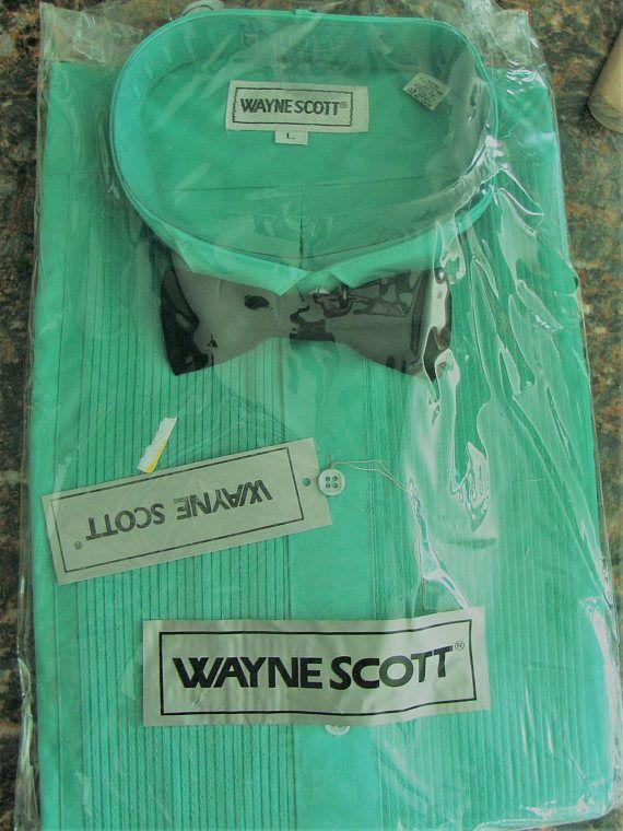 Jade Green Turquoise Tuxedo Shirt w/ Black Bow Tie Wayne Scott