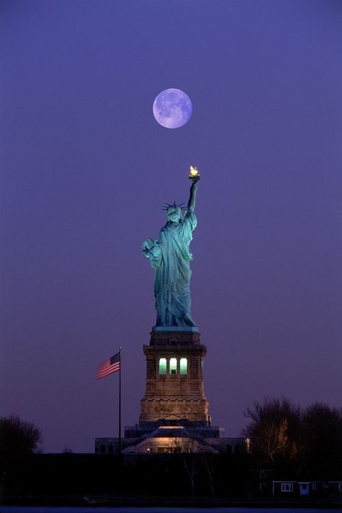 Statue of Liberty in a moonlight