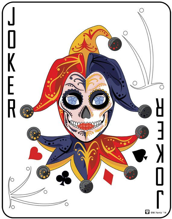 """Joker"" The perfect sugar skull card for your game room or man cave."