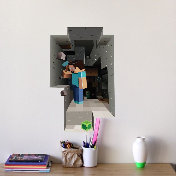 Minecraft Steve Cave 3D Wall Mural   Minecraft Decal   Video Game Wall  Decal Murals |