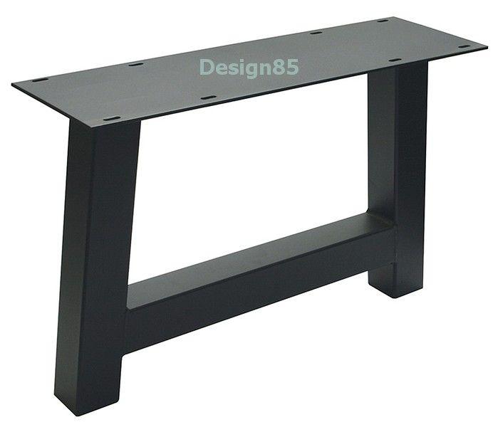 Stoere en robuuste tafelpoot in de vorm van een H.  Twee stuks vormen het frame voor een tafel.  Het tafelblad kan geleverd worden met eikenhout of steigerhout, tevens leverbaar in diverse kleuren.