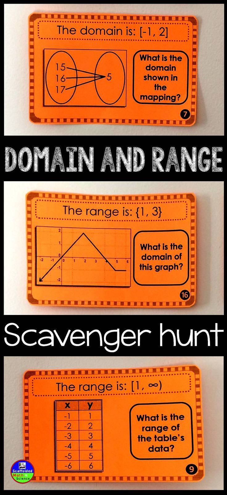 Domain and Range scavenger hunt! This is a fun activity to get gets moving to find domain and range as seen in graphs, scatter plots, coordinate pairs, mappings and tables.