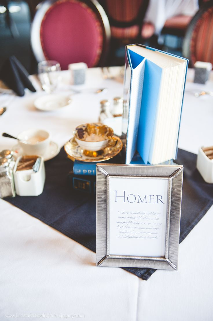 Literary wedding table numbers. Instead of using actual numbers, label tables with names of famous authors, accompanied by quotes from their works about love and marriage.