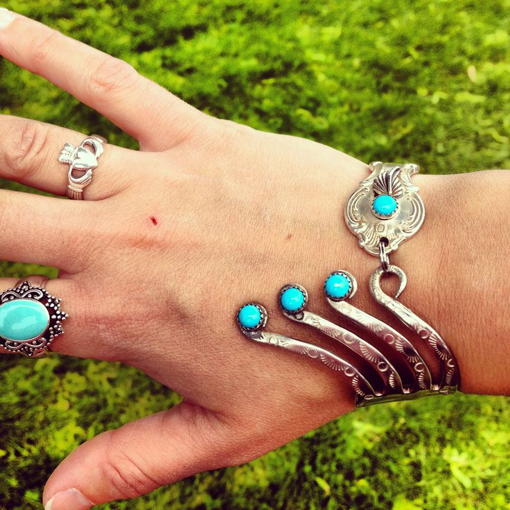 Silverware jewelry. Love the turquoise on this one......