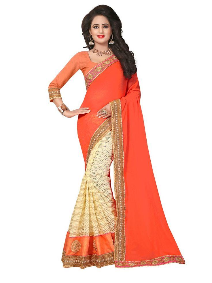 Buy Apparels- Orange and Cream Colour Party Wear Half Half Saree