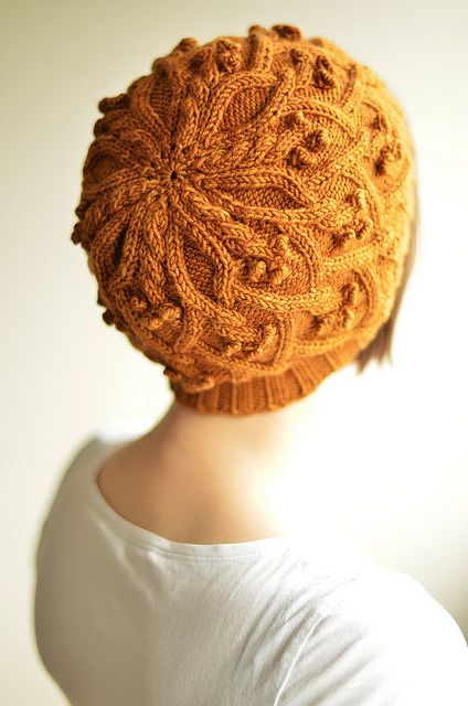 ravelry pattern  cable knit tamoshanter beret flowers and berries