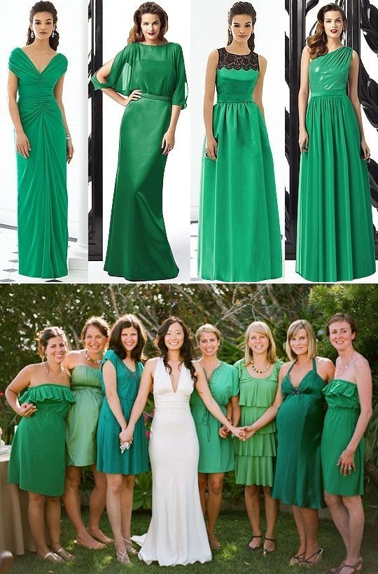 Vestido Para Damas De Honor Color Verde Esmeralda Verde