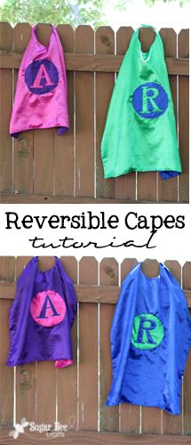 Sugar Bee Crafts: Reversible Capes - Tutorial, plus some very cool superhero rules.