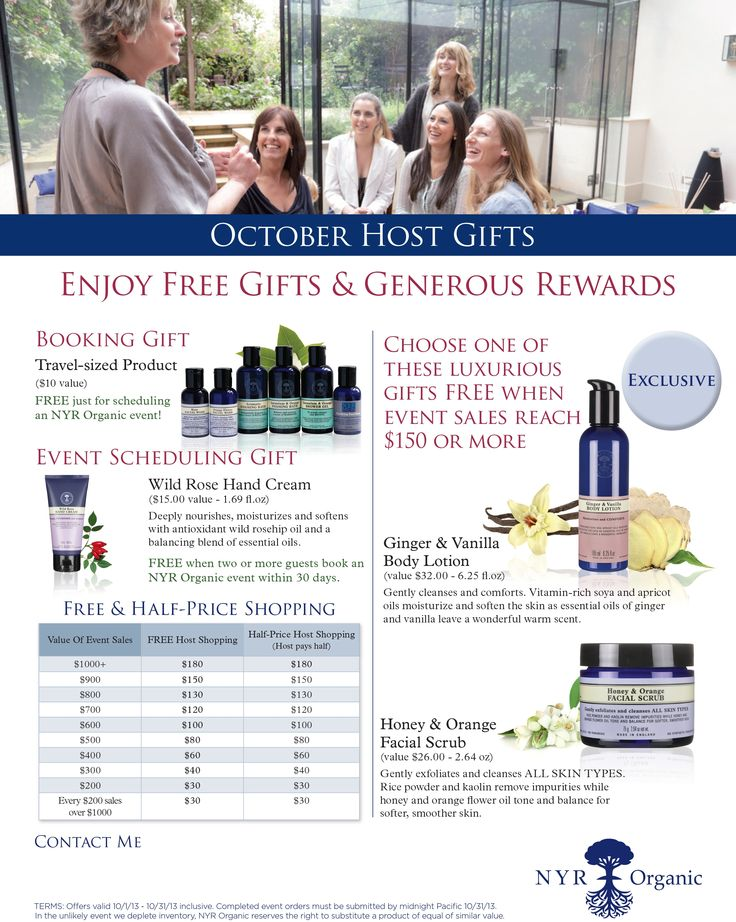 Love to receive free NYR Organic Products? Host a show. Have a virtual on-line party. Call for details - 949-698-6123. Visit my website www.nyrorganiclady.com