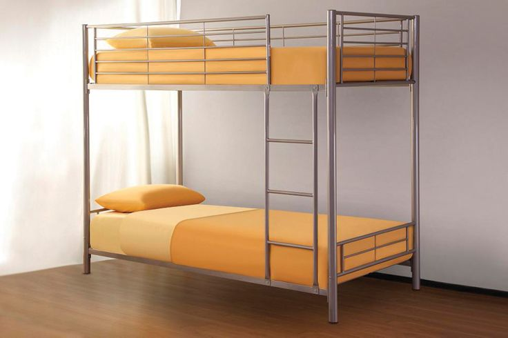"Apollo Bunk Bed  ""2 beds are better than 1"" and this sturdy, space saving silver finish 2 tier bed that accommodates standard single mattresses, will solve most problems apart from who bags the top bunk!!  NB – bunk cannot be split into 2 separate single beds. Overall dimensions when assembled: L2015mm x W990mm x H1700mm"