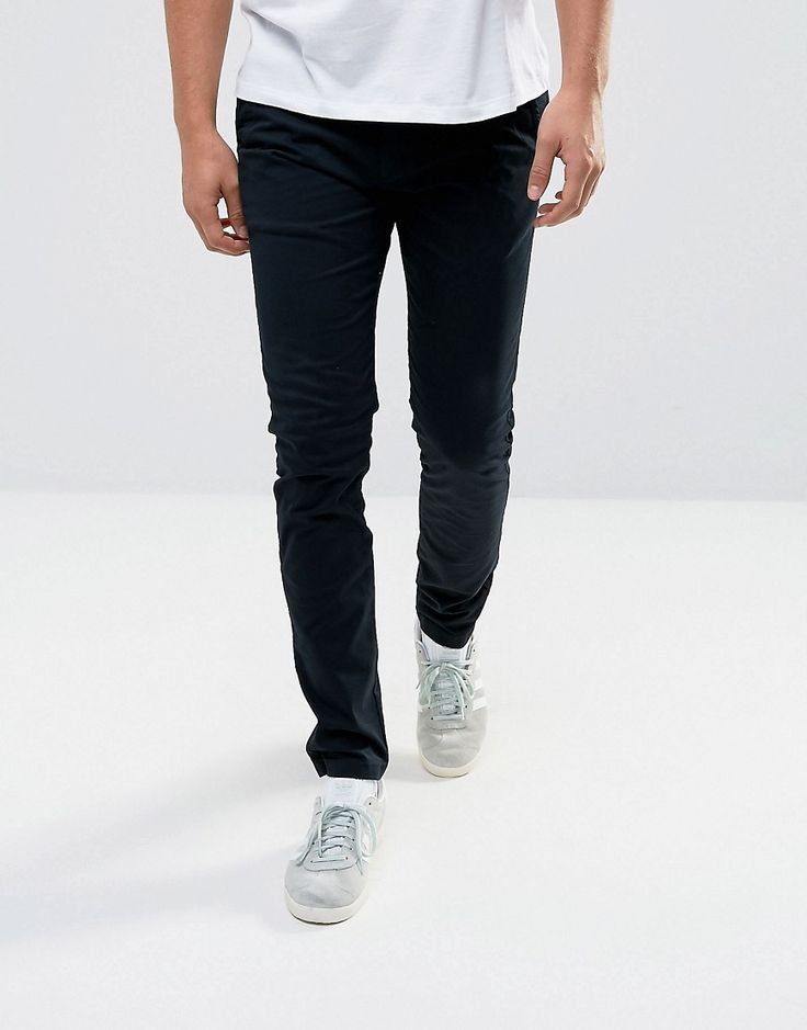 Solid Slim Fit Chinos With Stretch - Black