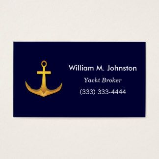 Gold Boat Anchor for Yacht Broker or Boating Sales Business Card