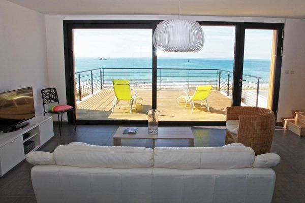 Ferienhaus Bretagne, Meerblick aus dem Wohnzimmer