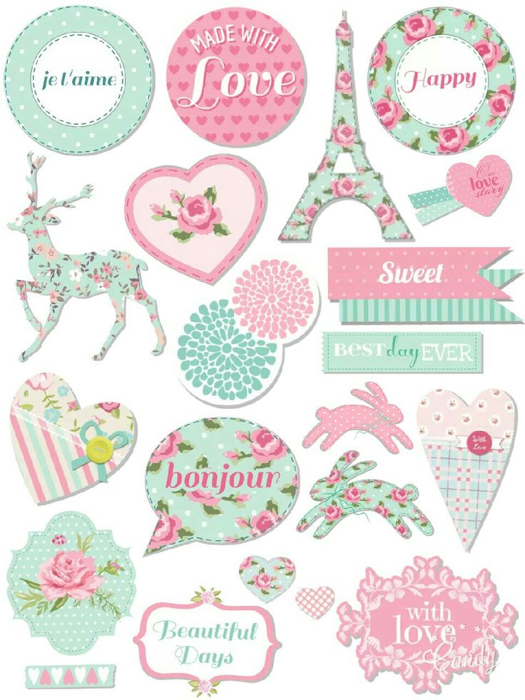 Pastel Sticker Printable #sticker#printable#pastel#pink#mint#flowers#sweet#cute#scrapbooktools#diy#candycameraapp