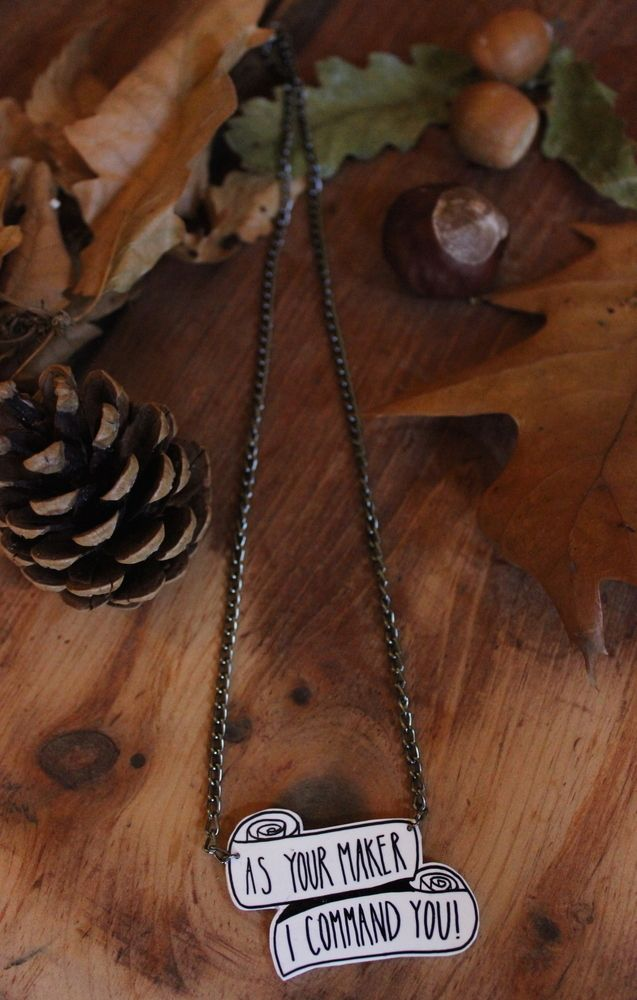 Image of ON SALE As Your Maker, I Command You necklace The Wishbone Collective www.thewishbonecollective.com Handmade hand illustrated jewellery jewelry accessories necklaces earrings studs fashion standoutfromthecrowd vintage ooak quirky emo grunge punk rock goth gothic alternative cool cute kitsch kawaii gifts presents ideas christmas stocking fillers sweet typography design japanese lyrics halloween vamp vampire true blood twilight eric northman love romance lust funny