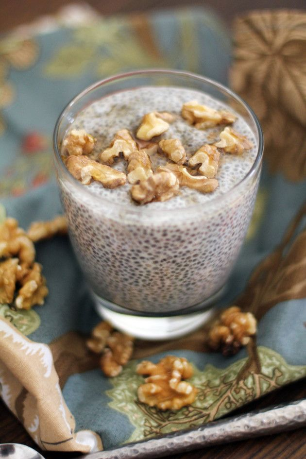 Chia Seed Pudding (raw, vegan and gluten-free) ❤♡❤ mix together 2 1/2 cups almond milk (unsweetened) + 3 tablespoons maple syrup + 1/2 cup chia seeds in jar, seal and refrigerate overnight. serve with roasted walnuts on top. ♥ ♥ ♥