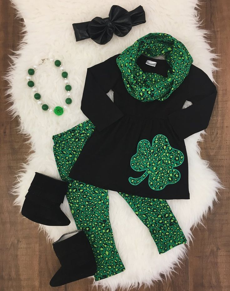 Green Cheetah Clover 3pc Scarf Set #boutique-outfits #new #perfect-sets