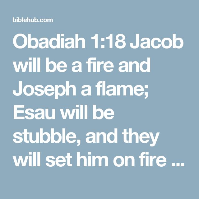 Obadiah 1:18 Jacob will be a fire and Joseph a flame; Esau will be stubble, and they will set him on fire and destroy him. There will be no…