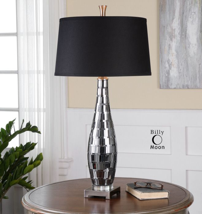 Lovely Uttermost Cosmas Lamp Mosaic mirror tiles with charcoal grout accented with plated gun metal details Elegant - Awesome mirrored table lamp Elegant