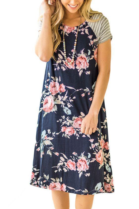 Navy Blue Floral Print A-line Loose T-shirt Dress