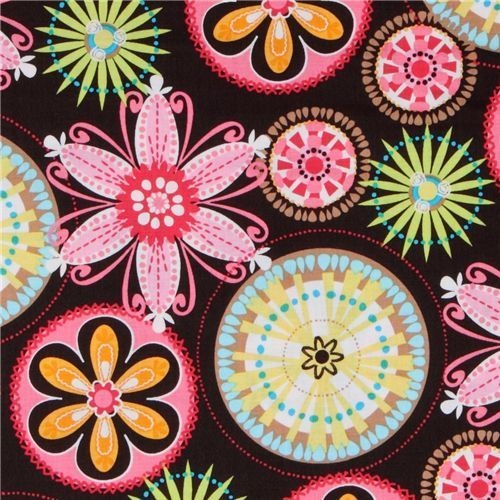 """Michael Miller Fabric 'Carnival Bloom'  by Michael Miller  Collection """"Fun And Funky""""  Import from USA    brown cotton fabric with many multicolore..."""