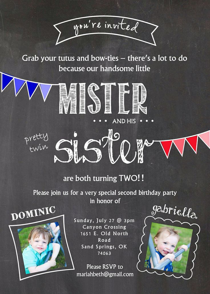 Twin birthday invitation. Two years old. Boy girl twins