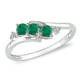 Diamore™ 1/3 ct Emerald and Diamond Accent 3 Stone Ring in 10 k White Gold - Sears