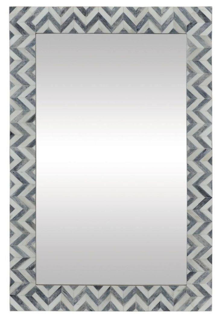 Bone and Grey Chevron Mirror