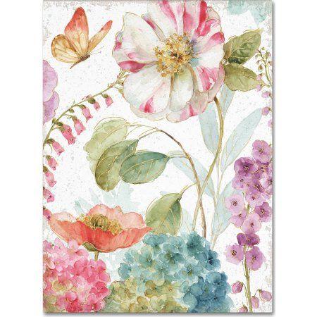Trademark Fine Art Rainbow Seeds Flowers II Crop on Wood Cream Canvas Art by Lisa Audit, Multicolor