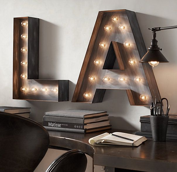 vintage illuminated marquee letters steel letras em. Black Bedroom Furniture Sets. Home Design Ideas