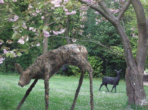 By Stephen Charlton Titled: U0027Bronze Fawn (Standing Lifesize Deer Garden  Statue)u0027.