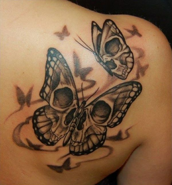 geile tattoos tattoo schmetterlinge totenkopf