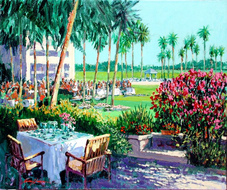 "KERRY HALLAM, ""Table For Three"", acrylic on canvas"