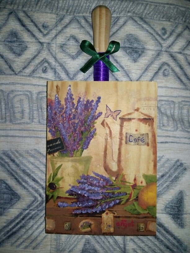 Lavender decoupage on wood