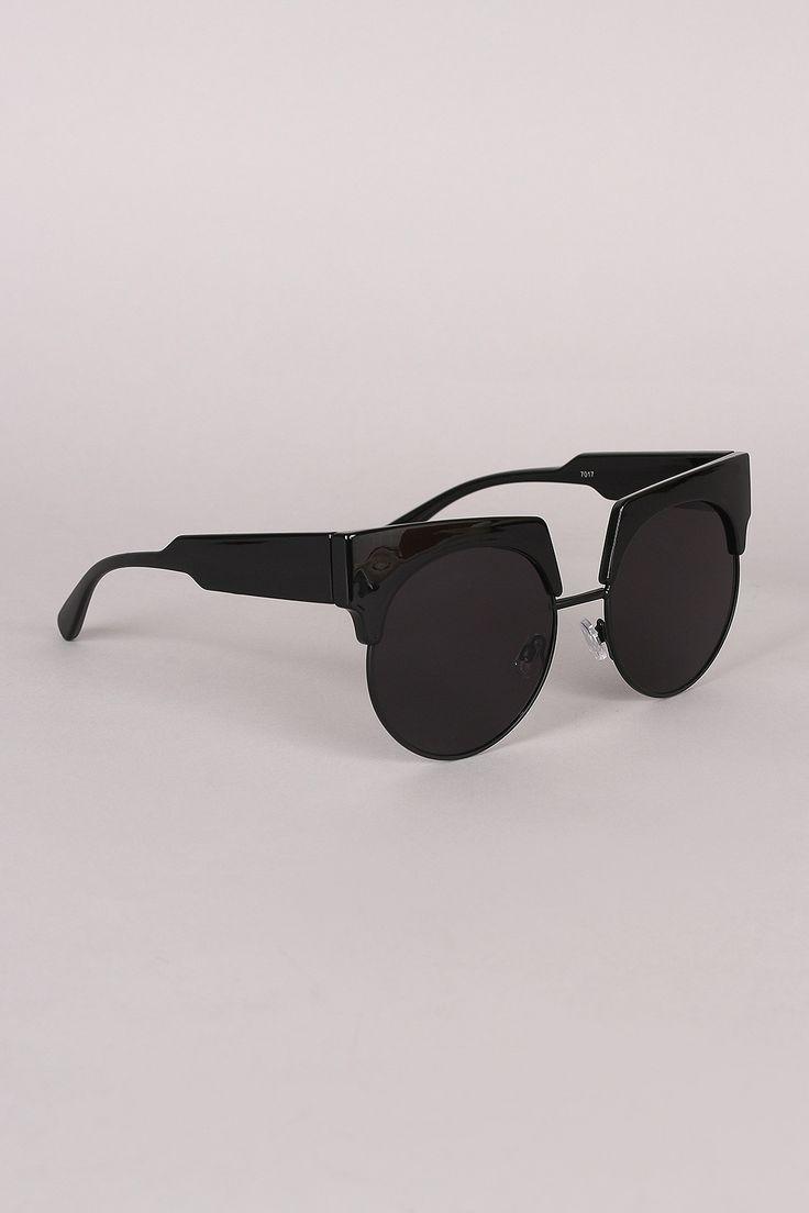 Semi Rimless Horn Rimmed Sunglasses