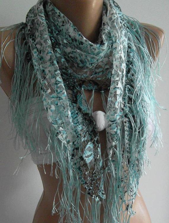 trendscarf  Blue   Grey  lace and Elegance Shawl / Scarf by womann, $18.00