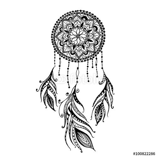 download the royalty free vector hand drawn mandala dreamcatcher with feathers ethnic. Black Bedroom Furniture Sets. Home Design Ideas