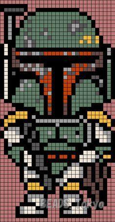 Boba Fett - Star Wars Perler Bead Pattern - BEADS.Tokyo
