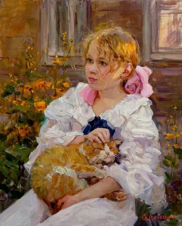 Elena salnikova children with pets art pinterest for Paintings of toddlers