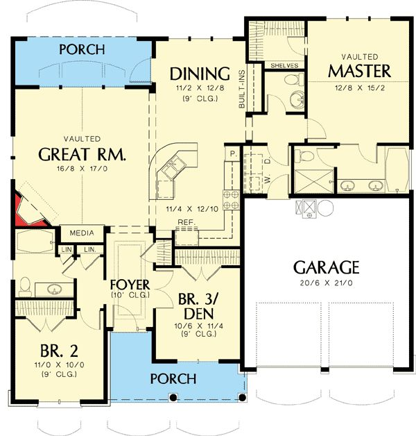 Like it. 1580 sq ft. The Epitome of Charm - 6920AM | Craftsman, Northwest, Narrow Lot, Photo Gallery, 1st Floor Master Suite, CAD Available, Den-Office-Library-Study, PDF, Split Bedrooms | Architectural Designs