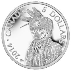 2014 $5 Portrait Of Nanaboozhoo - Pure Platinum Coin This 1/10th of an ounce pure platinum coin honours the long-standing tradition of First Nations story-telling; it is part of a series of coins celebrating Nanaboozhoo, a legendary figure in Ojibwa folklore. Nanaboozhoo is a shape-shifting spirit (often taking on the form of a rabbit) that is prominently featured in Aboriginal story-telling, including the story of the world's creation.