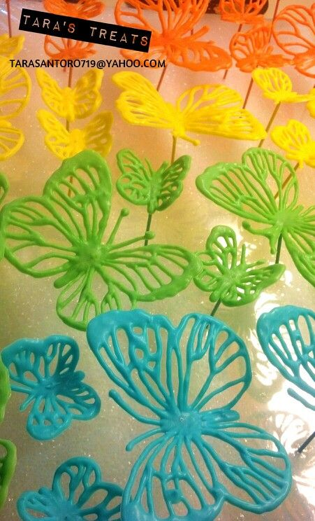 Chocolate butterflies rainbow cupcake toppers