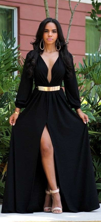 Black Sultry Goddess Maxi / Fashion By Chaviel's