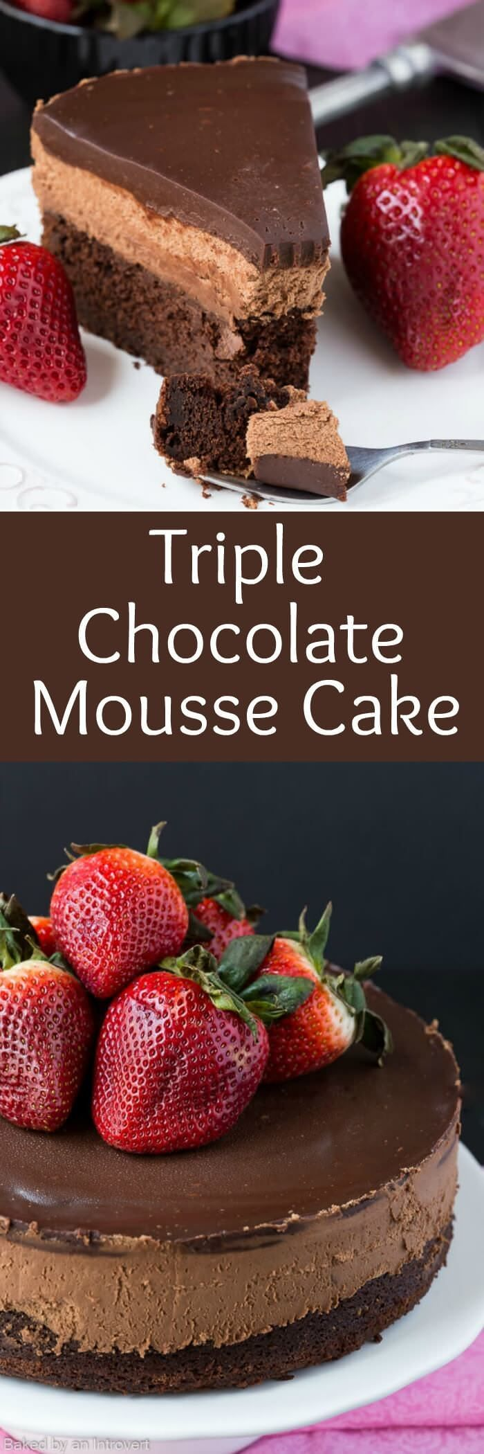 Triple chocolate Mousse Cake is the perfect light dessert recipe. It's made with a chocolate cake base, cool creamy mousse filling, and topped with rich dark chocolate ganache. Serve the cake with fresh berries for an extra special treat that's perfect for your special occasion. #mousse #cake #chocolate