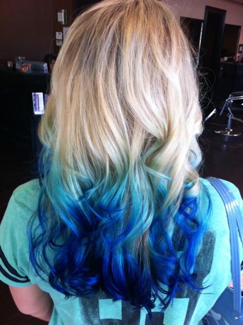 Colorful Hair Tumblr Hair Styles Blue Ombre Hair Dip Dye Hair