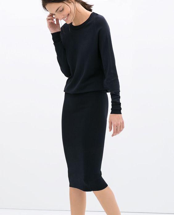 Minimal trends   Basic black sweater, pencil dress