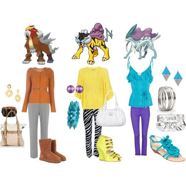 Outfits based on the legendary dog pokemon Entei, Raikou & Suicune :3 so fashionables~ #Pokemon #fashion