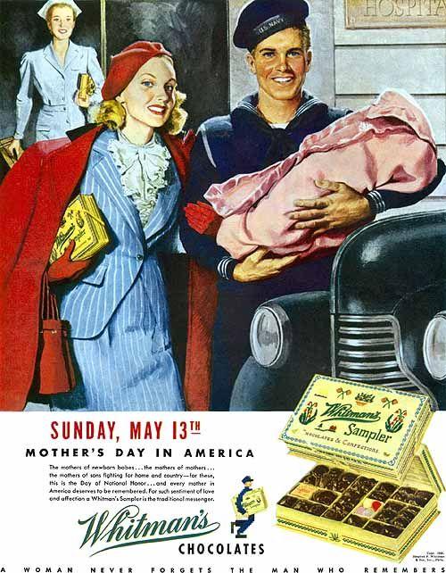 1943 Whitman's Chocolates ad, Mother's Day, art by Ray Prohaska